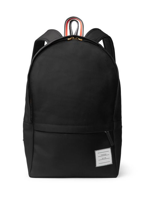 Thom Browne - Black Pebble-grain Leather-trimmed Nylon Backpack for Men - Lyst
