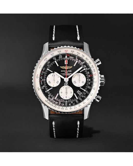 Men S Black Navitimer 01 Chronograph 43mm Stainless Steel And Leather Watch Ref No Ab012012 Bb01