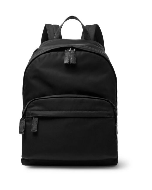 Prada - Black Saffiano Leather-appliquéd Nylon Backpack for Men - Lyst