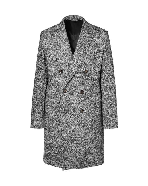 Mr P. - Gray Double-breasted Bouclé Overcoat for Men - Lyst