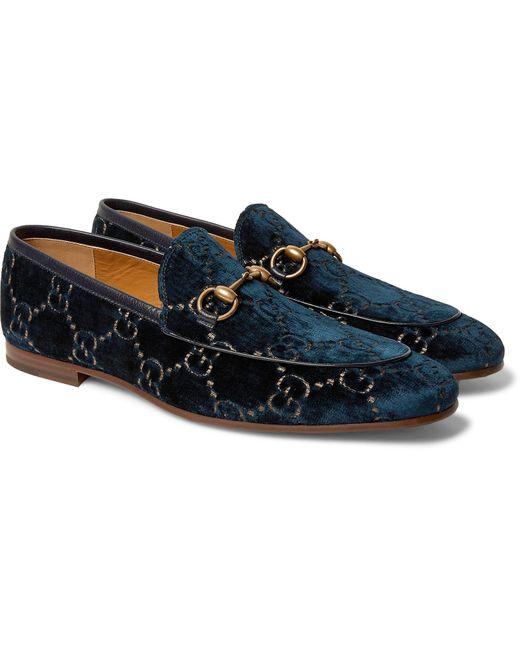 Gucci Jordaan GG Velvet Loafers in Navy