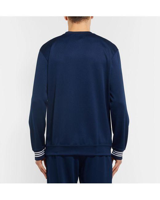 41b387ce9cb ... Adidas Originals - Blue Striped Satin-piqué Sweatshirt for Men - Lyst  ...