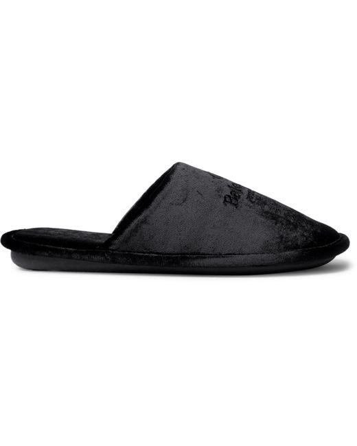 Balenciaga Black Home Logo-embroidered Velvet Slippers for men
