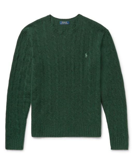 Polo Ralph Lauren | Green Slim-fit Cable-knit Merino Wool And Cashmere-blend Sweater for Men | Lyst