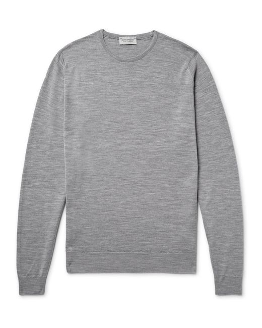 John Smedley | Gray Lundy Mélange Merino Wool Sweater for Men | Lyst