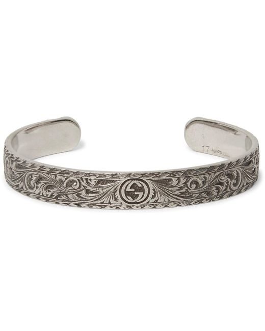 Gucci - Metallic Engraved Sterling Silver Cuff for Men - Lyst