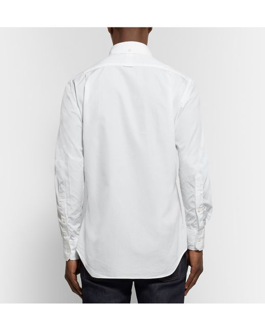 Thom browne slim fit button down collar cotton oxford for White button down collar oxford shirt