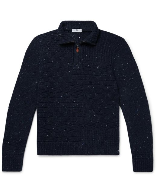 Inis Meáin Blue Donegal Merino Wool And Cashmere-blend Half-zip Sweater for men