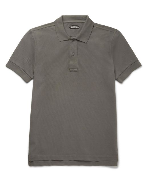 Tom Ford | Gray Garment-dyed Cotton-piqué Polo Shirt for Men | Lyst