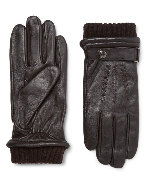 Dents Brown Henley Touchscreen Leather Gloves for men