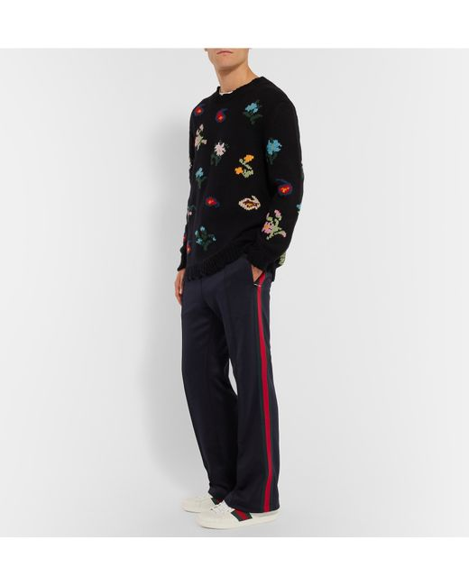 Gucci Striped Tech Jersey Joggers In Blue For Men Navy