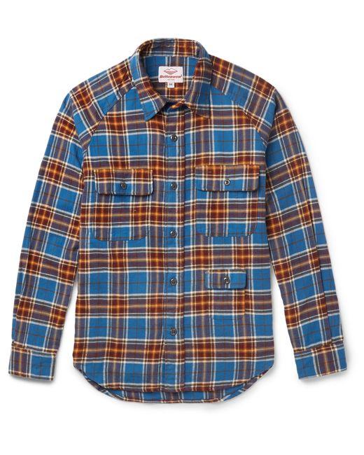 Battenwear camp slim fit plaid cotton flannel shirt in for Women s slim fit flannel shirt