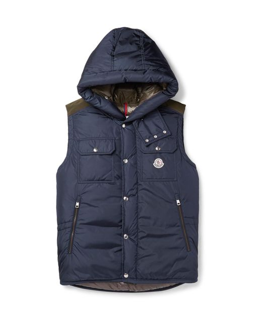 Moncler | Blue Anis Quilted Shell Hooded Down Gilet for Men | Lyst