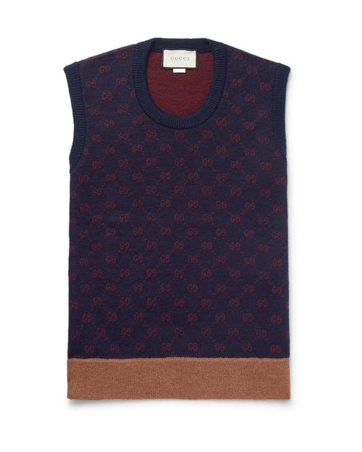 Gucci - Blue Logo-jacquard Wool And Alpaca-blend Sweater Vest for Men - Lyst