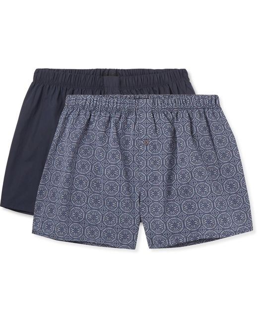 Hanro | Blue Two-pack Cotton Boxer Shorts for Men | Lyst