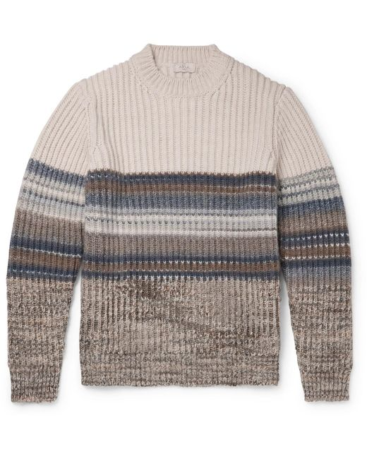 Altea Gray Striped Ribbed-knit Sweater for men