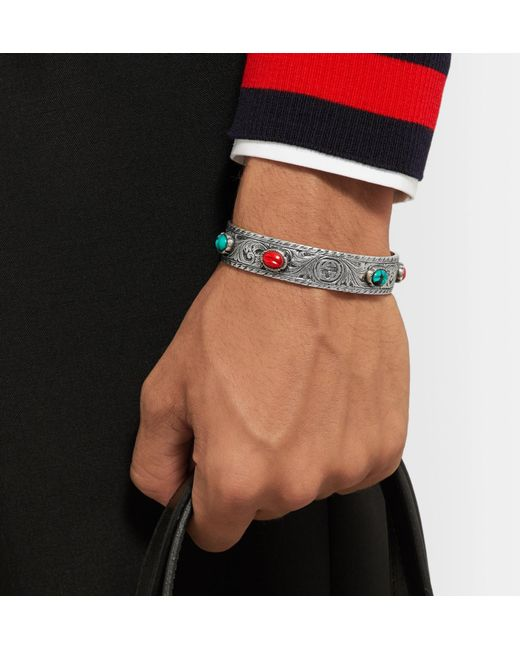 56ad94fd4a9 ... Gucci - Metallic Tiger Head Sterling Silver Turquoise Cuff for Men -  Lyst ...