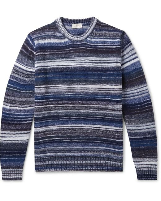 Altea Blue Striped Virgin Wool-blend Sweater for men