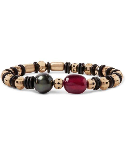 Luis Morais - Metallic Gold, Ruby And Pearl Bead Bracelet for Men - Lyst