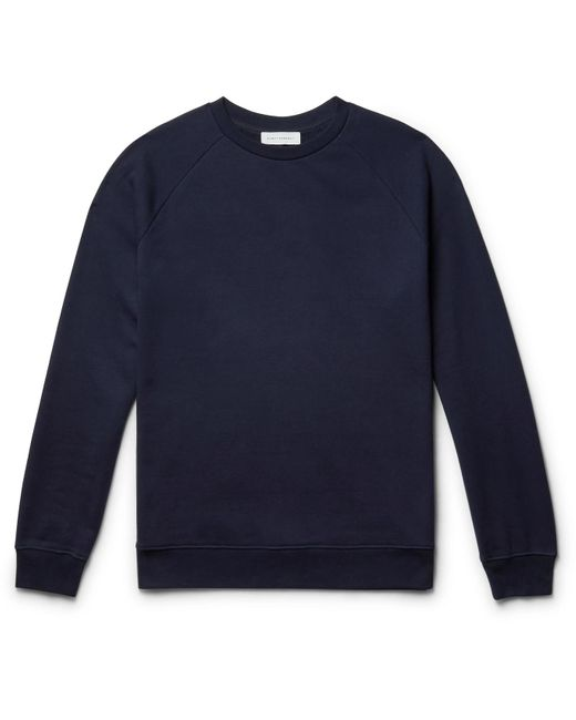 NINETY PERCENT Blue Loopback Organic Cotton-jersey Sweatshirt for men