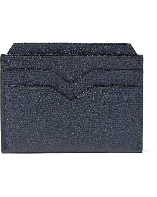 Valextra - Blue Pebble-grain Leather Cardholder for Men - Lyst