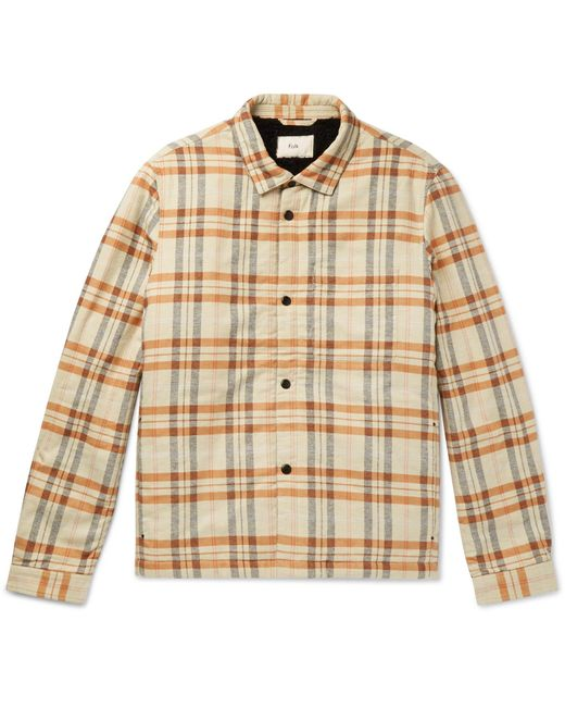 Folk Natural Checked Faux Shearling-lined Cotton-flannel Overshirt for men