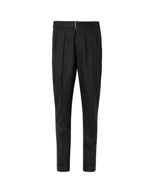 Officine Generale Black Pierre Pleated Virgin Wool-flannel Suit Trousers for men