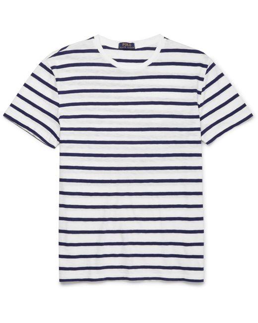 Polo Ralph Lauren   White Striped Slub Cotton-jersey T-shirt for Men   Lyst