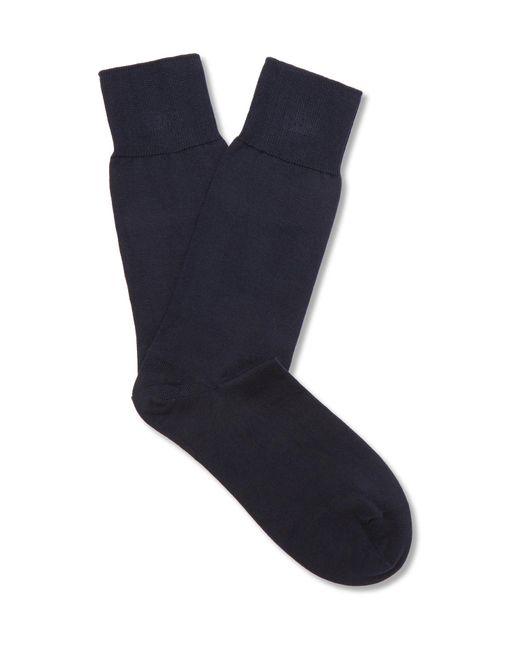 John Smedley - Blue Sigma Sea Island Cotton-blend Socks for Men - Lyst