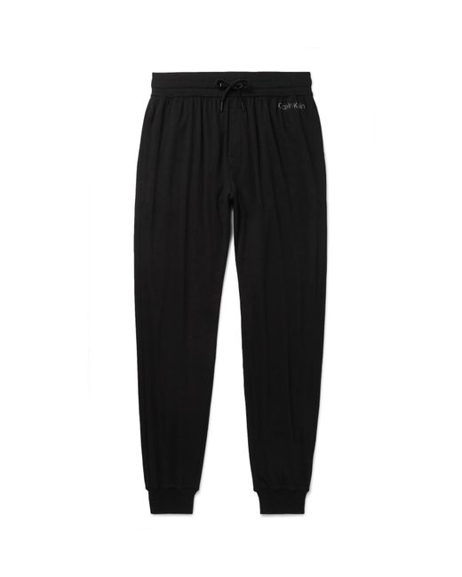 771c4a5ff02a Calvin Klein - Black Tapered Stretch Cotton And Modal-blend Sweatpants for  Men - Lyst ...