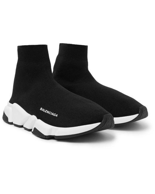 Balenciaga Black Speed Sock Stretch-knit Slip-on Sneakers for men