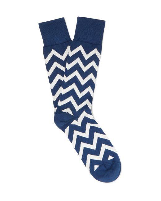 Paul Smith | Blue Chevron-patterned Cotton-blend Socks for Men | Lyst
