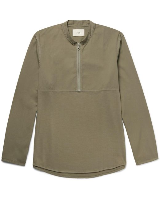 Folk   Green Mandarin-collar Cotton-twill And Jersey Half-zip Shirt for Men   Lyst