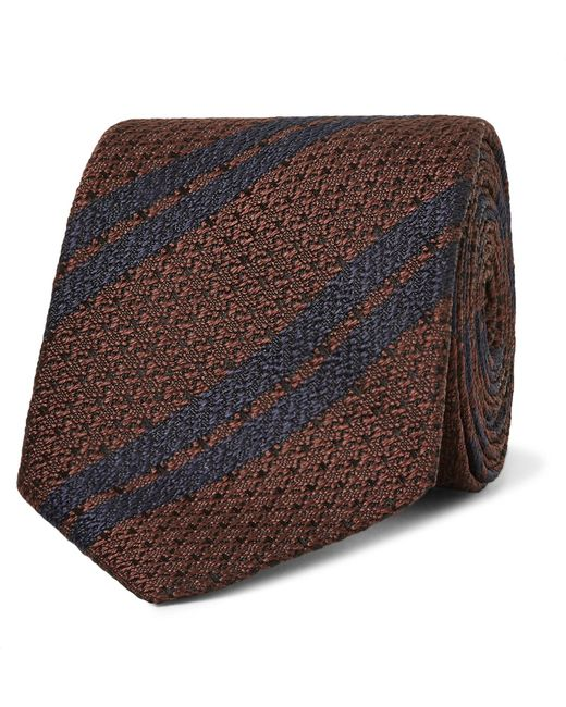 Ermenegildo Zegna | Brown 7cm Striped Silk Tie for Men | Lyst