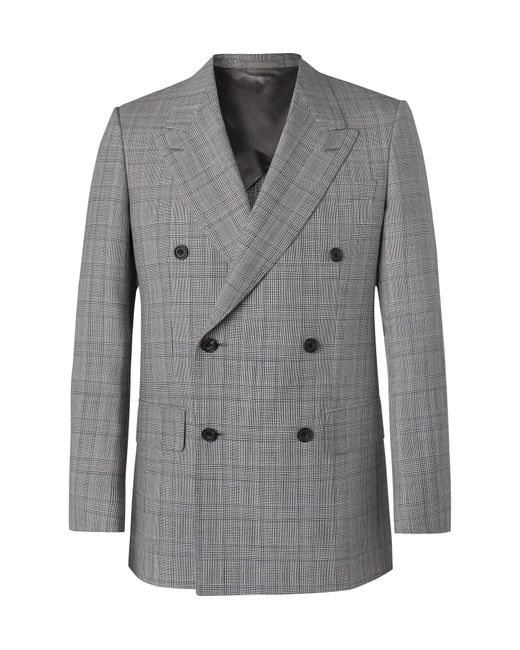 Kingsman Gray Grey Slim-fit Unstructured Double-breasted Houndstooth Summer-weight Wool Suit Jacket for men