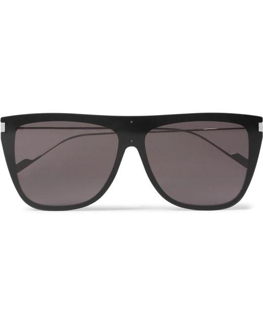 Saint Laurent - Black D-frame Acetate And Silver-tone Sunglasses for Men - Lyst