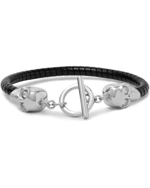 Alexander McQueen - Black Silver-tone Leather Skull Bracelet for Men - Lyst