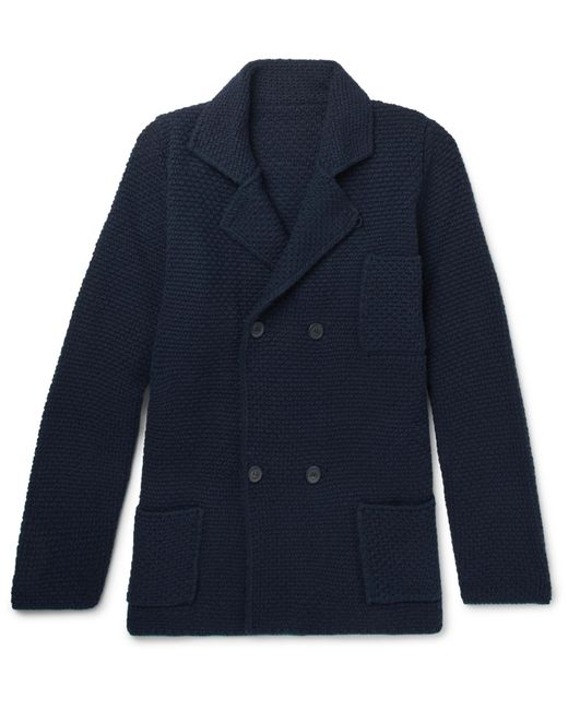 Anderson & Sheppard - Blue Double-breasted Merino Wool And Cashmere-blend Cardigan for Men - Lyst