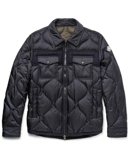 Moncler | Blue Stephan Felt-trimmed Quilted Shell Down Jacket for Men | Lyst