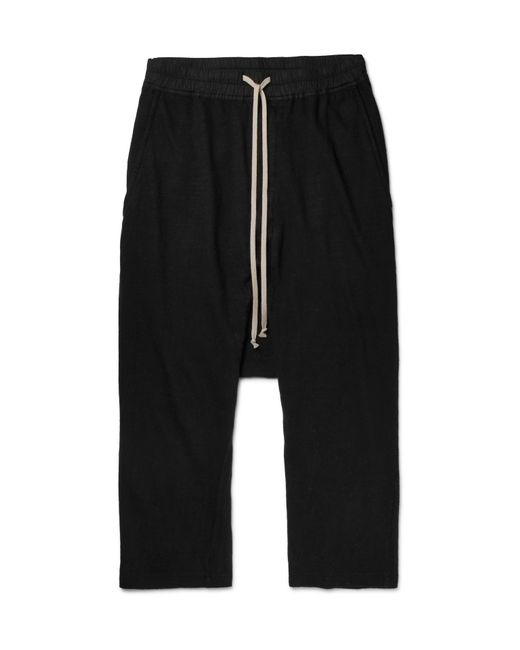 Rick Owens | Black Drkshdw Cropped Cotton-jersey Drawstring Trousers for Men | Lyst