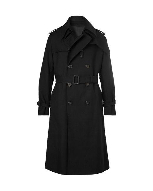 Alexander McQueen - Black Wool-twill Trench Coat for Men - Lyst