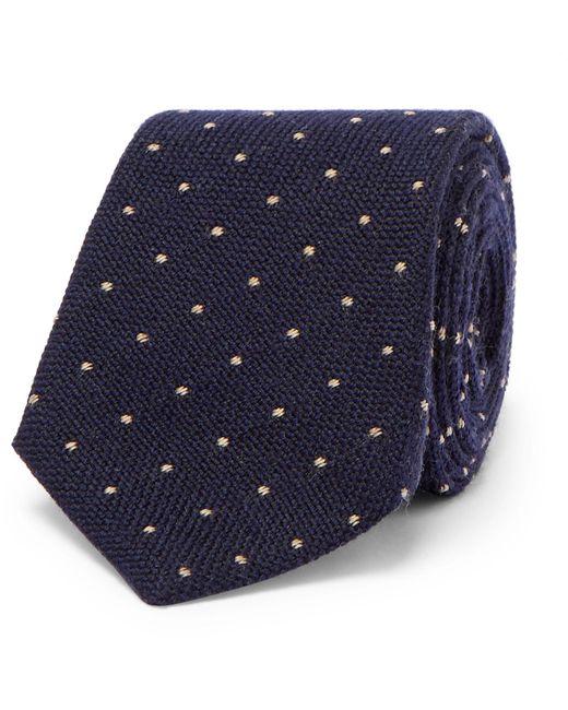 Brunello Cucinelli   Blue 7cm Polka-dot Wool And Silk-blend Tie for Men   Lyst
