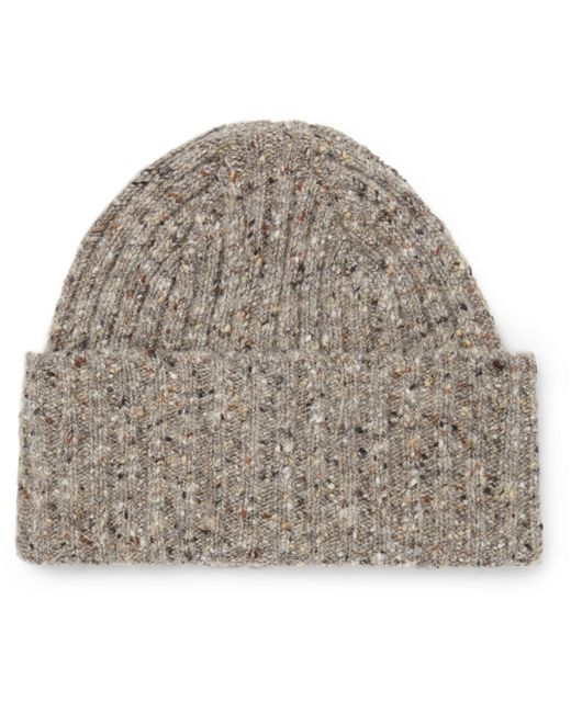 Drake's | Natural Ribbed Donegal Merino Wool Beanie for Men | Lyst