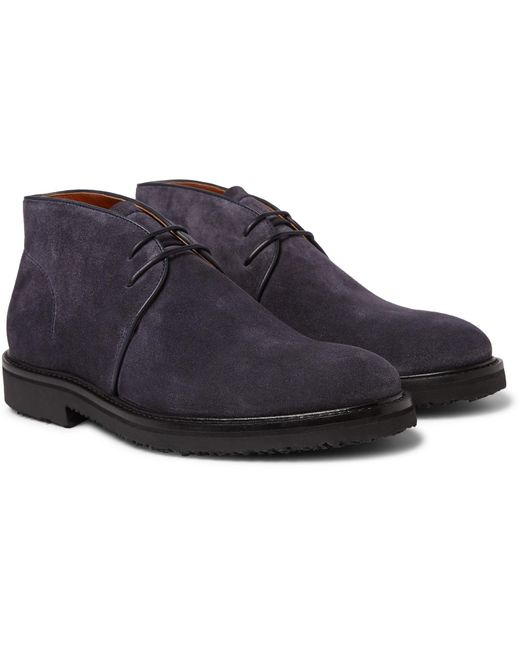 Ermenegildo Zegna Blue Suede Chukka Boots for men