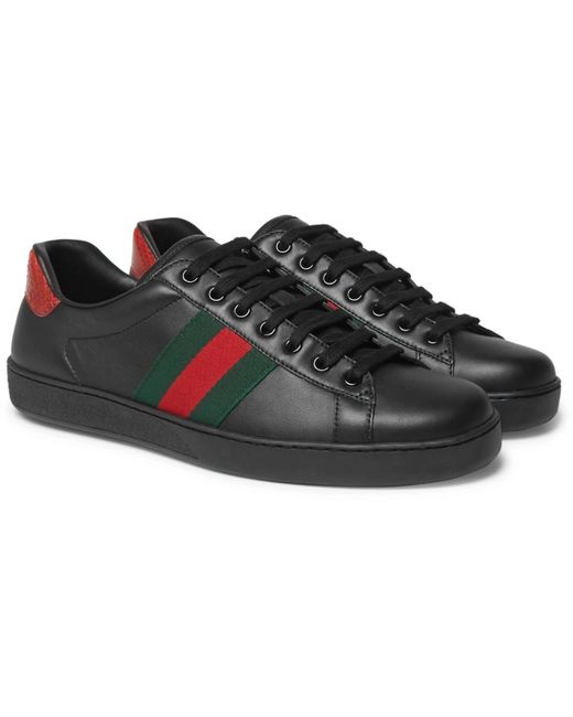 Gucci Black Ace Embroidered Low-top Sneaker for men