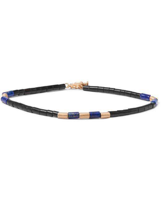 Luis Morais - Blue Bead And 14-karat Gold Bracelet for Men - Lyst
