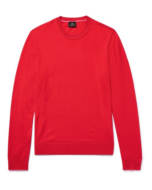 PS by Paul Smith - Red Contrast-tipped Merino Wool Sweater for Men - Lyst