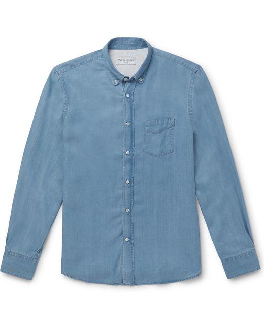 Officine Generale Blue Button-down Collar Lyocell Shirt for men