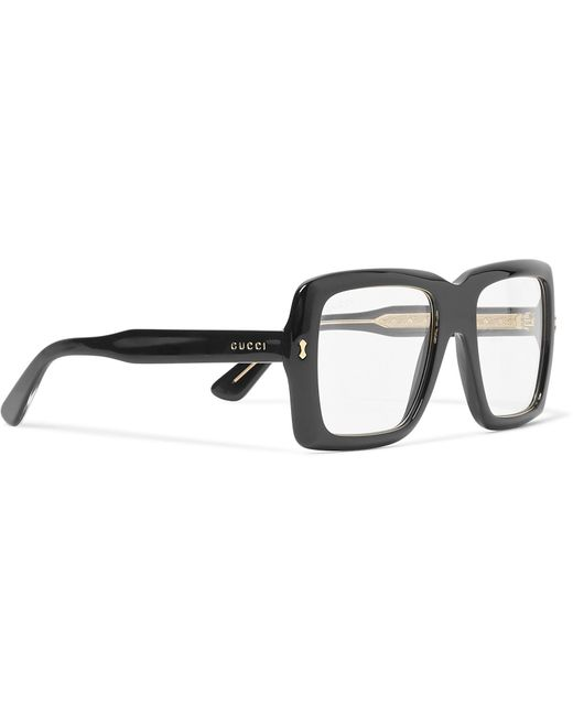 Lyst - Gucci Square-frame Acetate And Gold-tone Optical Glasses in ...