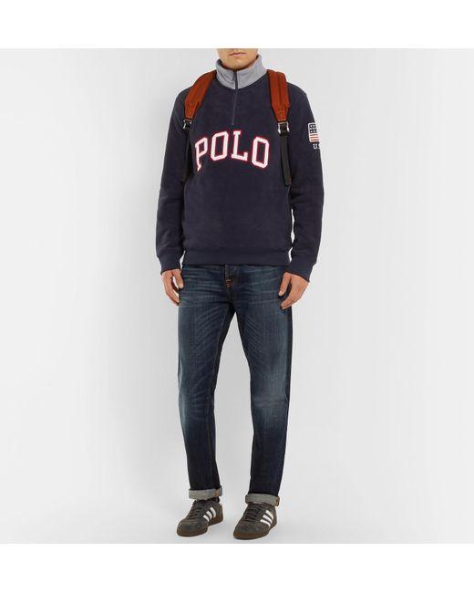 ... Polo Ralph Lauren - Blue Logo-appliquéd Fleece Half-zip Sweatshirt for  Men ... 09383bd0ebf